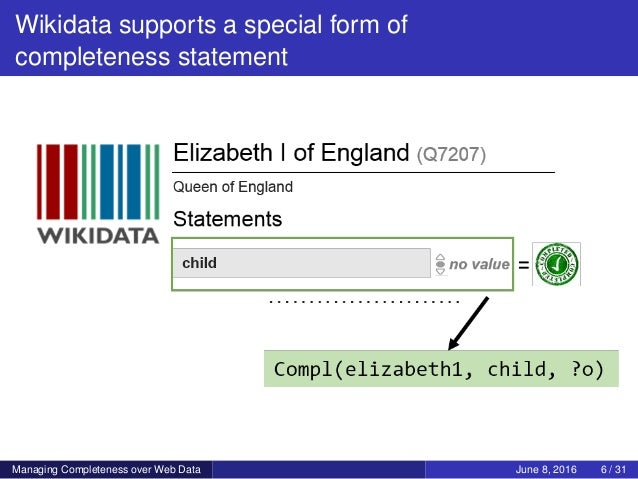 Wikidata supports a special form of completeness statement Managing Completeness over Web Data June 8, 2016 6 / 31