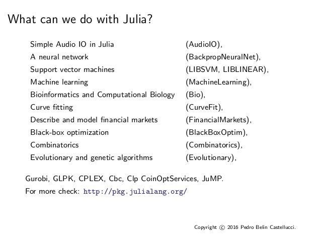 Operations research using Julia and JuMP