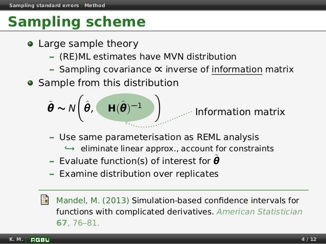Sampling standard errors   Method Sampling scheme Large sample theory – (RE)ML estimates have MVN distribution – Sampling ...