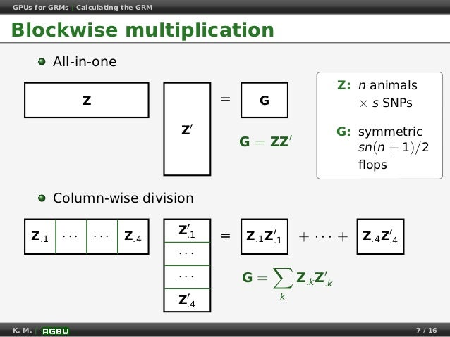 GPUs for GRMs | Calculating the GRM Blockwise multiplication All-in-one =Z Z G G = ZZ Column-wise division = + · · · +Z.1 ...