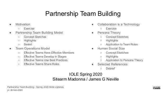 Partnership Team Building ● Motivation ○ Exercise ● Partnership Team Building Model ○ Concept Sketches ○ Highlights ○ Sest...