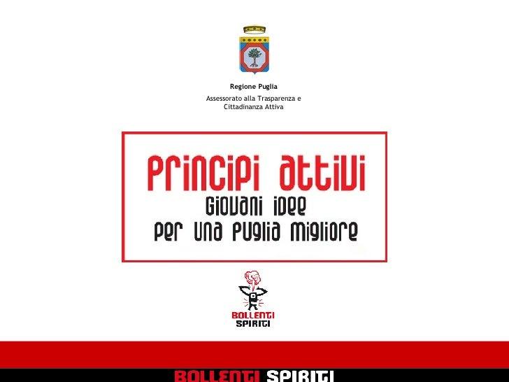 Regione Puglia Assessorato alla Trasparenza e Cittadinanza Attiva