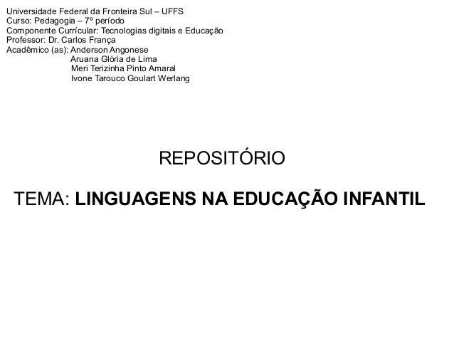 Universidade Federal da Fronteira Sul – UFFS Curso: Pedagogia – 7º período Componente Currícular: Tecnologias digitais e E...