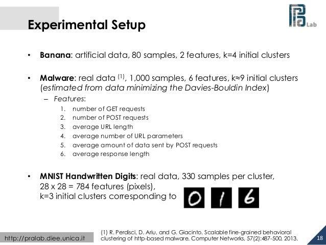 Experimental Setup  • Banana: artificial data, 80 samples, 2 features, k=4 initial clusters  • Malware: real data (1), 1,0...