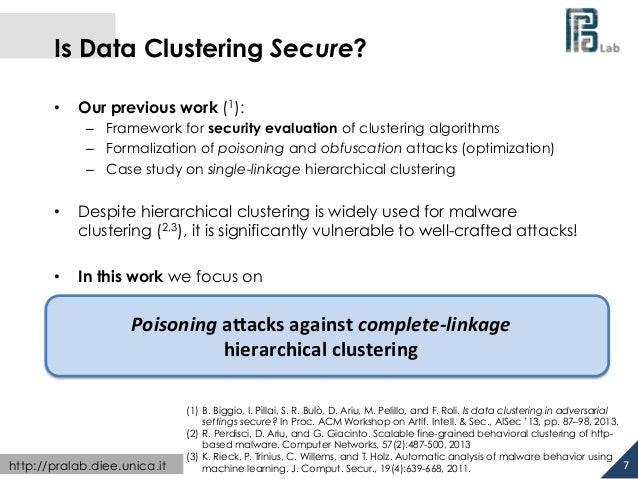 Is Data Clustering Secure?  • Our previous work (1):  – Framework for security evaluation of clustering algorithms  – Form...