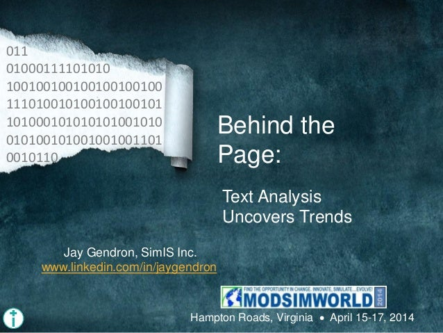 Behind the Page: Text Analysis Uncovers Trends 011 01000111101010 100100100100100100100 111010010100100100101 101000101010...