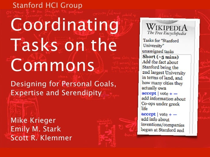Stanford HCI Group   Coordinating Tasks on the Commons Designing for Personal Goals, Expertise and Serendipity   Mike Krie...