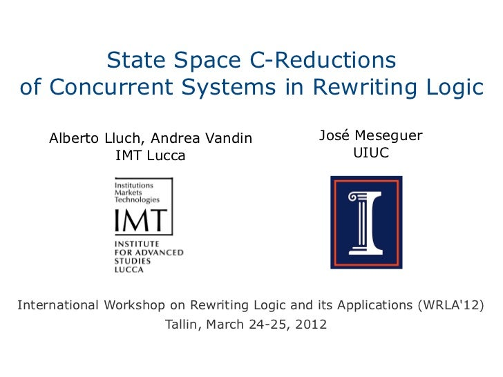 State Space C-Reductionsof Concurrent Systems in Rewriting Logic    Alberto Lluch, Andrea Vandin              José Mesegue...