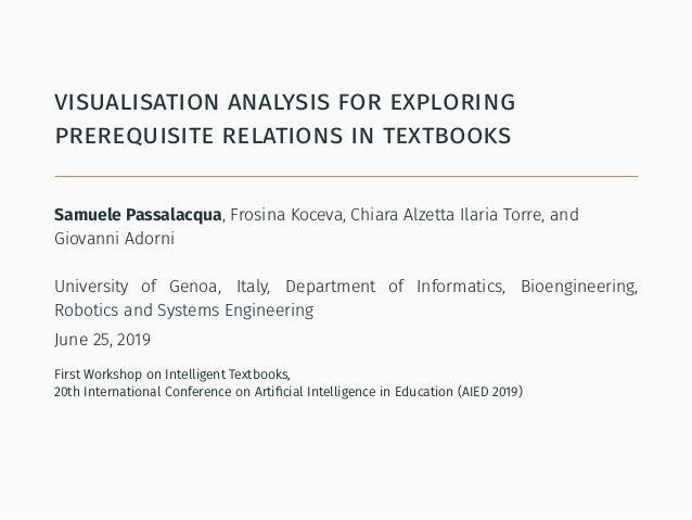 visualisation analysis for exploring prerequisite relations in textbooks Samuele Passalacqua, Frosina Koceva, Chiara Alzet...