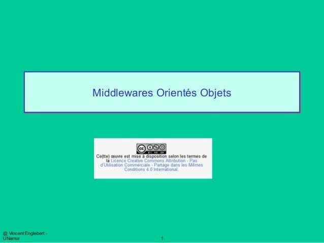 @ Vincent Englebert - UNamur 1 Middlewares Orientés ObjetsMiddlewares Orientés Objets
