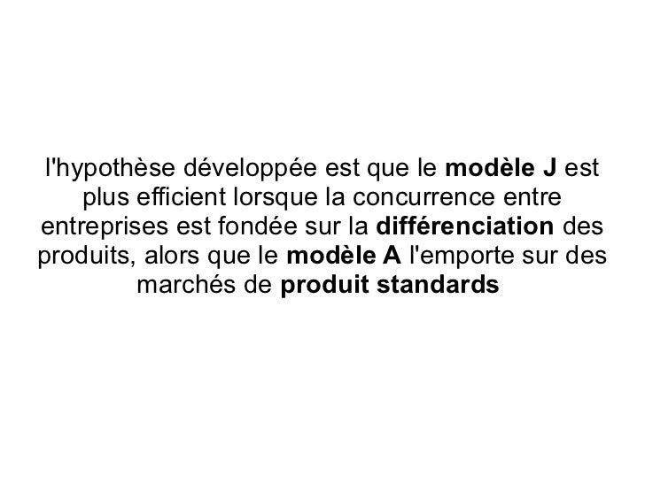 lhypothèse développée est que le modèle J est     plus efficient lorsque la concurrence entreentreprises est fondée sur la...