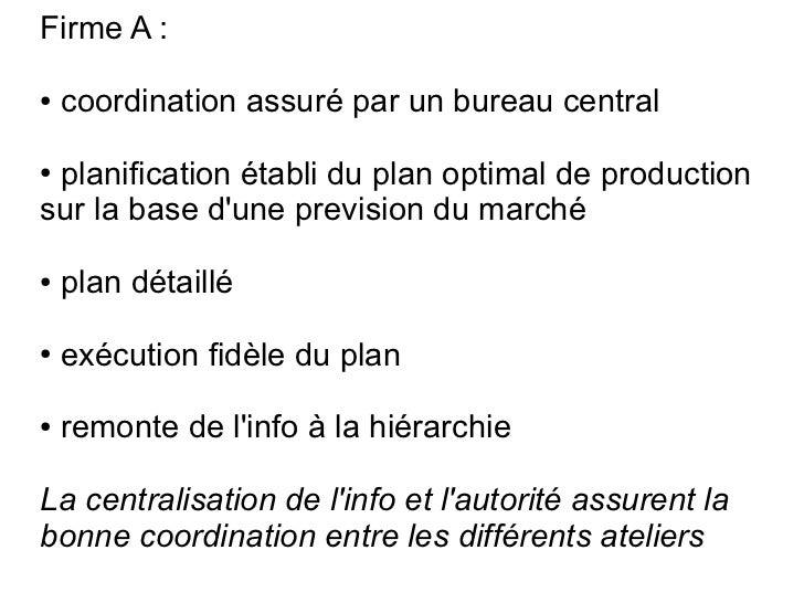 Firme A :●   coordination assuré par un bureau central●planification établi du plan optimal de productionsur la base dune ...