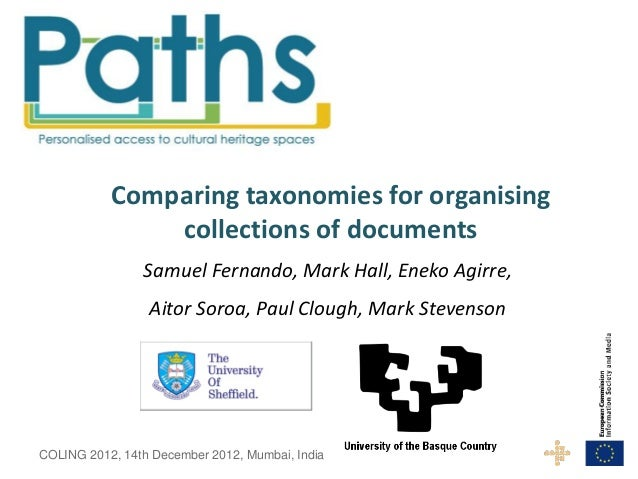 Comparing taxonomies for organising               collections of documents                Samuel Fernando, Mark Hall, Enek...