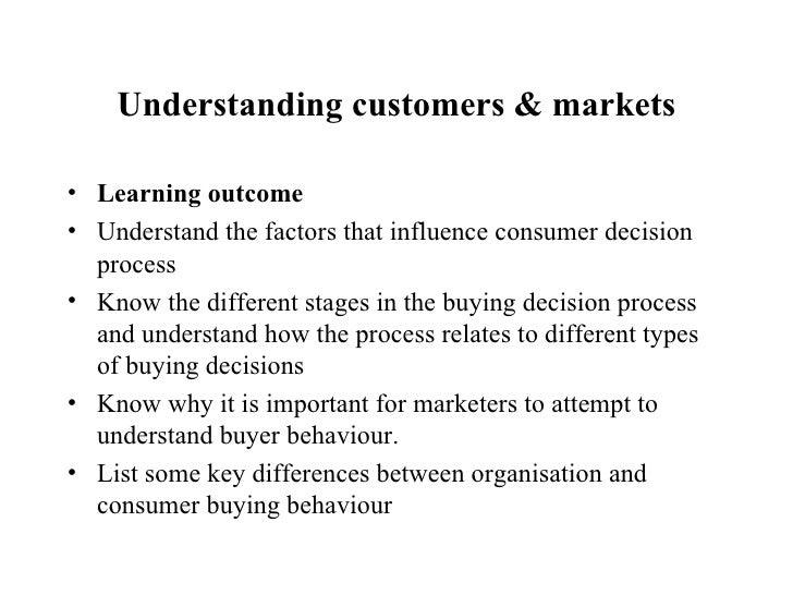 Understanding customers & markets <ul><li>Learning outcome  </li></ul><ul><li>Understand the factors that influence consum...