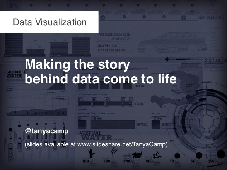 Data Visualization  Making the story  behind data come to life  @tanyacamp  (slides available at www.slideshare.net/TanyaC...