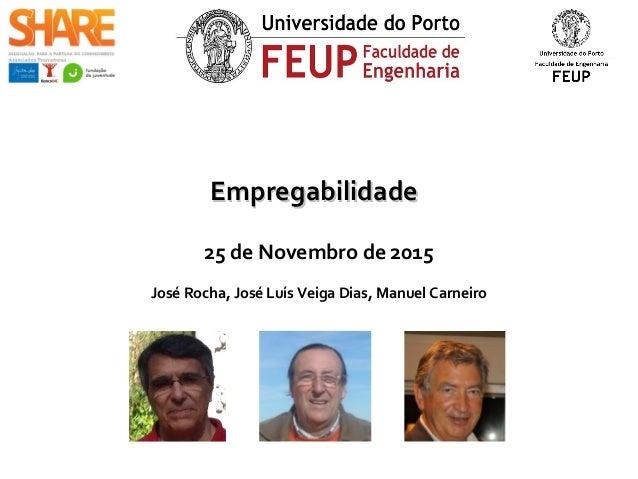 EmpregabilidadeEmpregabilidade 25 de Novembro de 2015 José Rocha, José Luís Veiga Dias, Manuel Carneiro