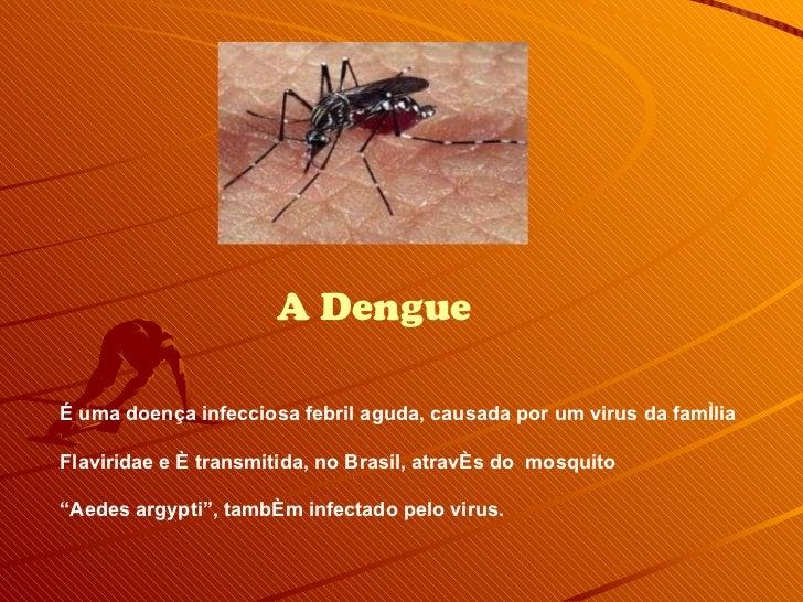 A Dengue É uma doença infecciosa febril aguda, causada por um virus da família  Flaviridae e é transmitida, no Brasil, atr...