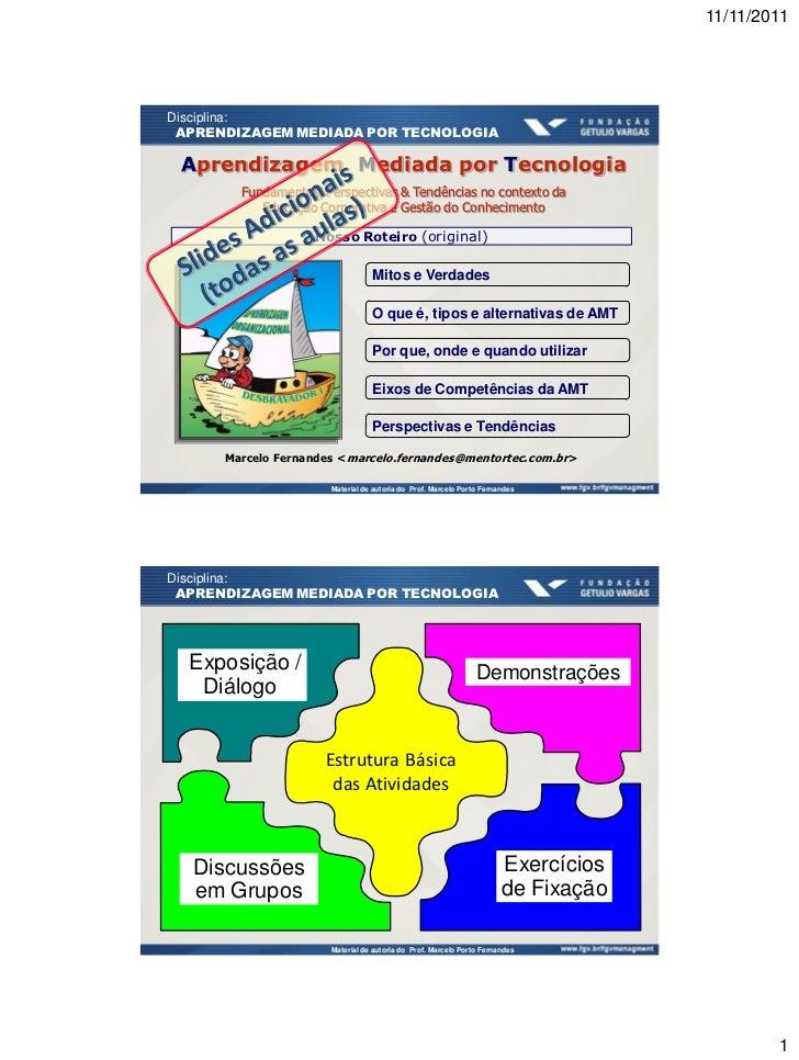 11/11/2011Disciplina: APRENDIZAGEM MEDIADA POR TECNOLOGIA Aprendizagem Mediada por Tecnologia        Fundamentos, Perspect...