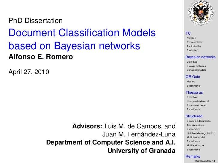 PhD DissertationDocument Classification Models                         TC                                                  ...