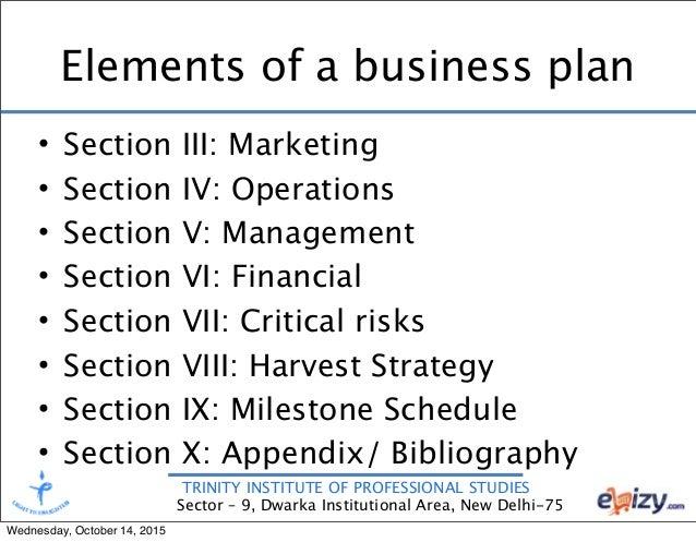 Elements of business plan in entrepreneurship