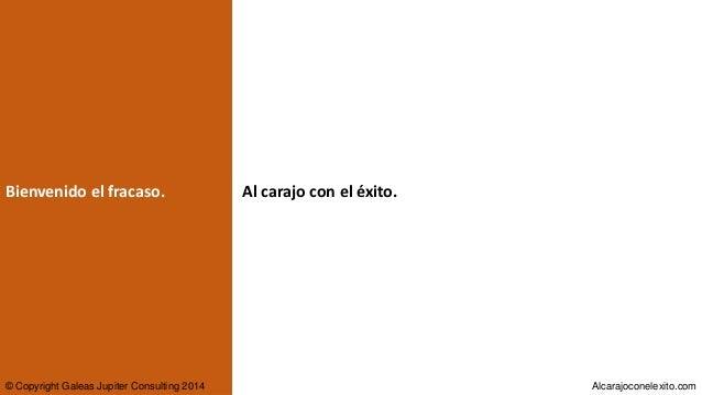 Bienvenido el fracaso. © Copyright Galeas Jupiter Consulting 2014 Alcarajoconelexito.com Al carajo con el éxito.