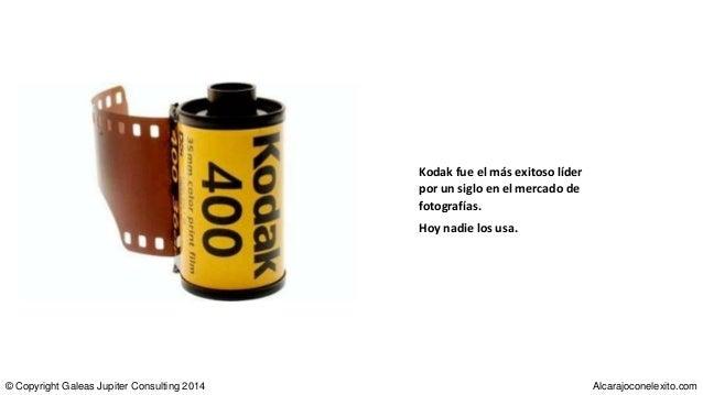 Kodak fue el más exitoso líder por un siglo en el mercado de fotografías. Hoy nadie los usa. © Copyright Galeas Jupiter Co...
