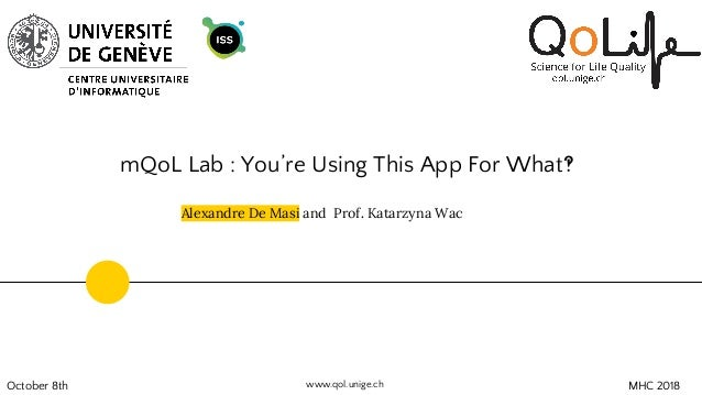 mQoL Lab : You're Using This App For What‽ October 8th Alexandre De Masi and Prof. Katarzyna Wac MHC 2018www.qol.unige.ch