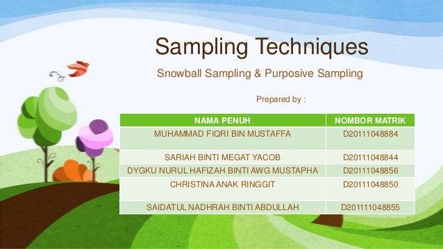 Sampling Techniques Snowball Sampling & Purposive Sampling Prepared by : NAMA PENUH  NOMBOR MATRIK  MUHAMMAD FIQRI BIN MUS...