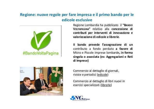 """Regione: nuove regole per fare impresa e il primo bando per le edicole esclusive Regione Lombardia ha pubblicato il """"BANDO..."""