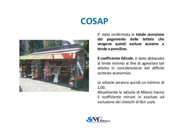 COSAP E' stata confermata la totale esenzione dal pagamento delle tettoie che vengono quindi escluse assieme a tende e pen...