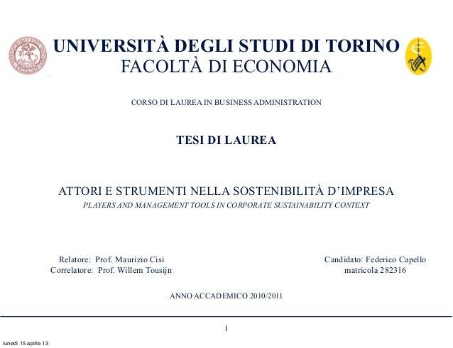 UNIVERSITÀ DEGLI STUDI DI TORINO                            FACOLTÀ DI ECONOMIA                                           ...