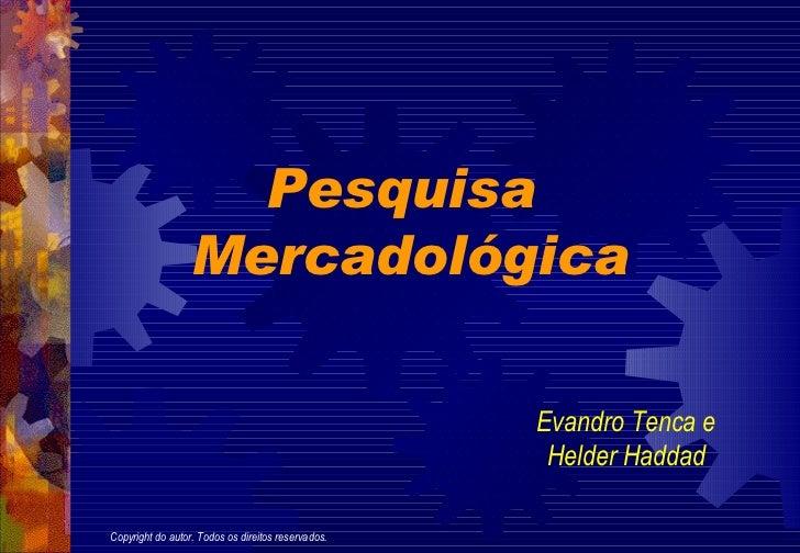 Pesquisa  Mercadológica Evandro Tenca e Helder Haddad Copyright do autor. Todos os direitos reservados.