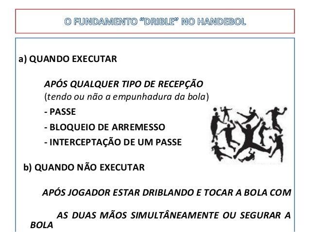 a) QUANDO EXECUTAR APÓS QUALQUER TIPO DE RECEPÇÃO (tendo ou não a empunhadura da bola) - PASSE - BLOQUEIO DE ARREMESSO - I...