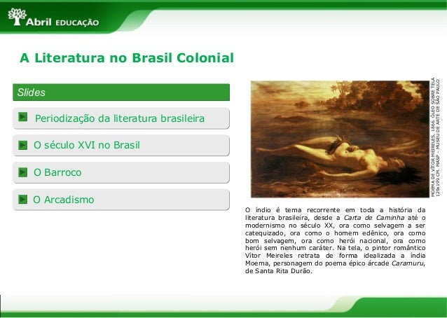 SlidesSlides Periodização da literatura brasileira O século XVI no Brasil O Barroco O Arcadismo A Literatura no Brasil Col...