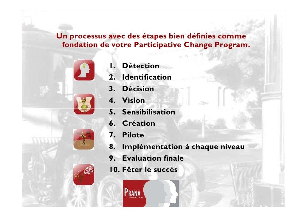 Change management Un processus avec des étapes bien définies comme  fondation de votre Participative Change Program.      ...