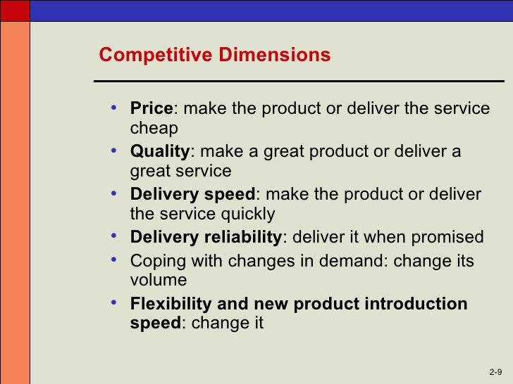 competitive dimensions of operations management
