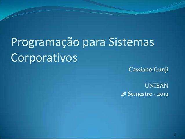 Programação para SistemasCorporativos                     Cassiano Gunji                           UNIBAN                 ...