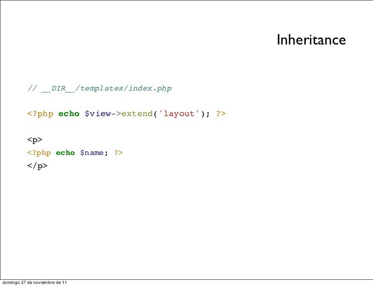 Slides components en for Php template inheritance