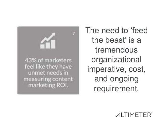 The need to 'feed the beast' is a tremendous organizational imperative, cost, and ongoing requirement.