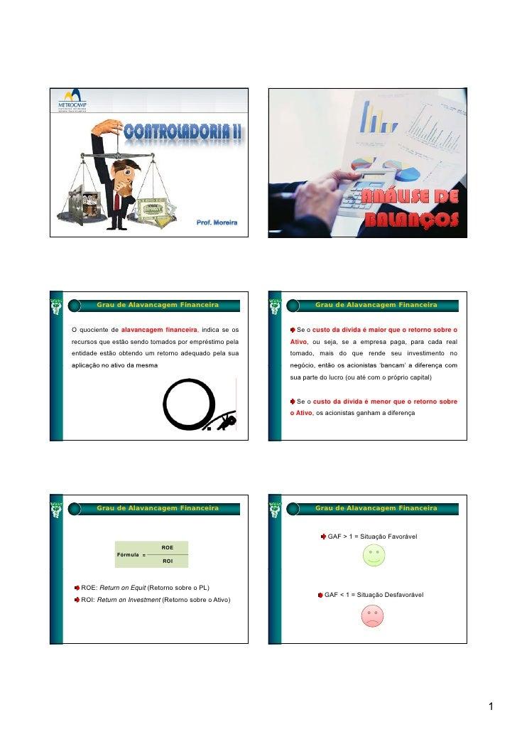 Grau de Alavancagem Financeira                          Grau de Alavancagem Financeira   O quociente de alavancagem financ...