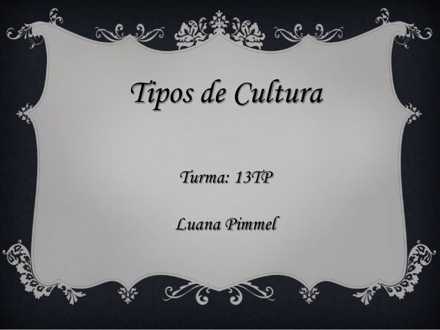 Tipos de Cultura  Turma: 13TP  Luana Pimmel