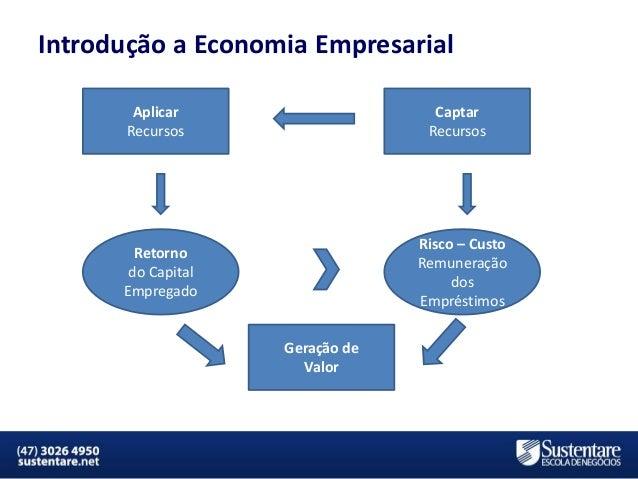 Introdução a Economia Empresarial Aplicar Recursos  Captar Recursos  Risco – Custo Remuneração dos Empréstimos  Retorno do...