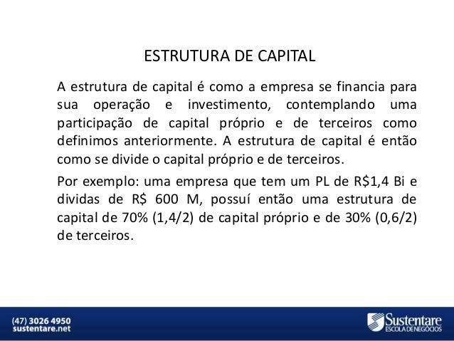 ESTRUTURA DE CAPITAL A estrutura de capital é como a empresa se financia para sua operação e investimento, contemplando um...