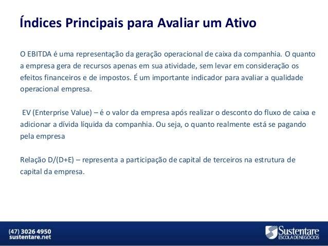 Índices Principais para Avaliar um Ativo O EBITDA é uma representação da geração operacional de caixa da companhia. O quan...