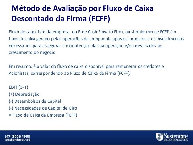 Método de Avaliação por Fluxo de Caixa Descontado da Firma (FCFF) Fluxo de caixa livre da empresa, ou Free Cash Flow to Fi...