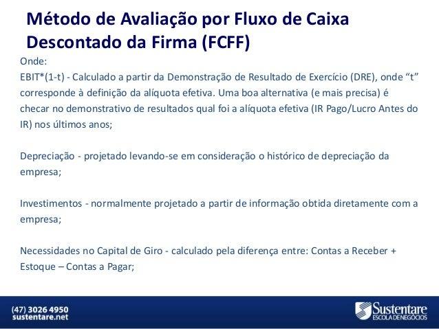 Método de Avaliação por Fluxo de Caixa Descontado da Firma (FCFF) Onde: EBIT*(1-t) - Calculado a partir da Demonstração de...
