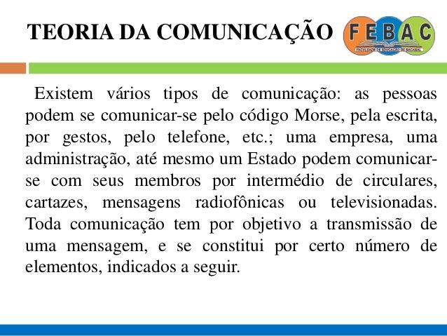 TEORIA DA COMUNICAÇÃO Existem vários tipos de comunicação: as pessoas podem se comunicar-se pelo código Morse, pela escrit...
