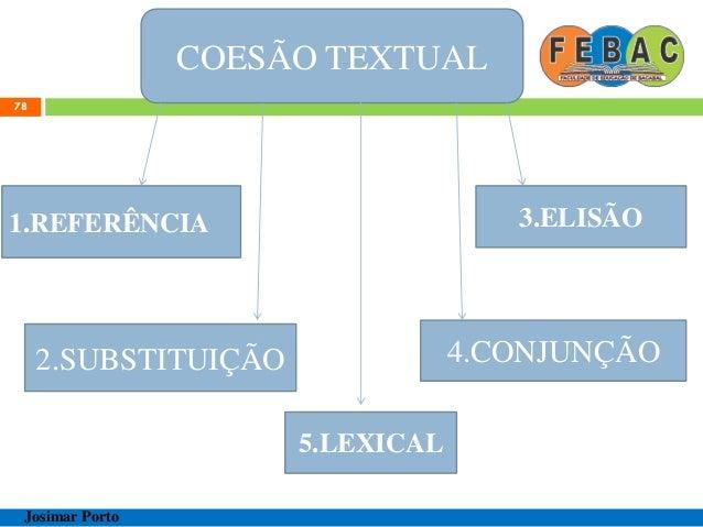 COESÃO TEXTUAL 79 Josimar Porto 1.REFERÊNCIA ENDOFÓRICA/TEXTUAL ANAFÓRICA CATAFÓRICA EXOFÓRICA/EXTRATEXTUAL