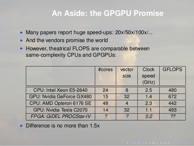 An Aside: the GPGPU Promise Many papers report huge speed-ups: 20x/50x/100x/... And the vendors promise the world However,...