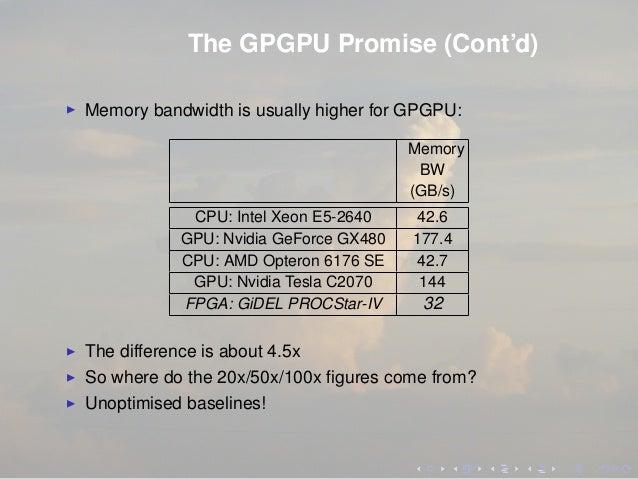 The GPGPU Promise (Cont'd) Memory bandwidth is usually higher for GPGPU: Memory BW (GB/s) CPU: Intel Xeon E5-2640 42.6 GPU...